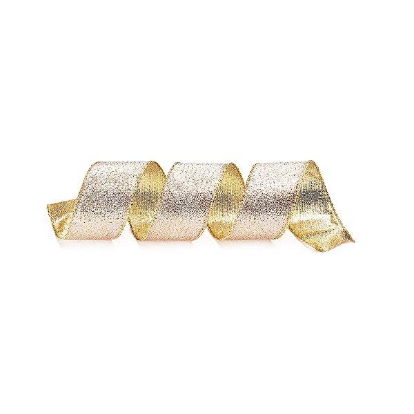 Fita Tecido Brilhante Rose Gold 3,8cm - 01 unidade 10m- Cromus Natal - Rizzo Embalagens