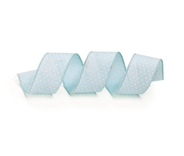 Fita Tecido Azul Poá Branco 3,8cm - 01 unidade 10m- Cromus Natal - Rizzo Embalagens