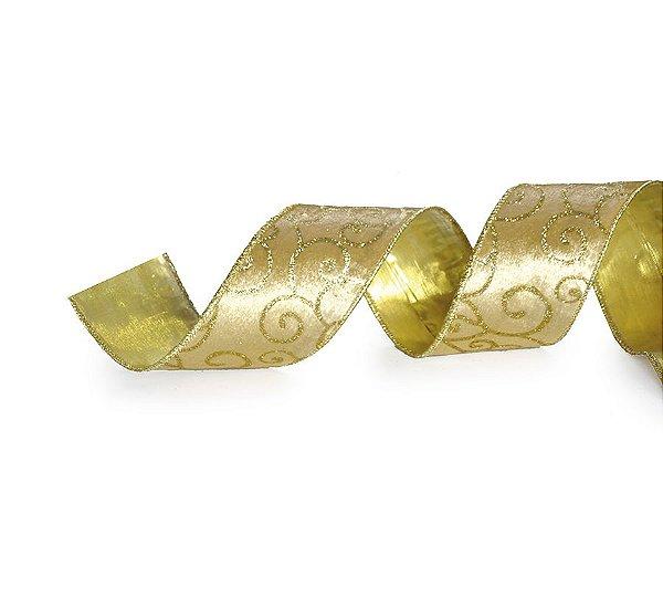 Fita Tecido Arabescos Glitter Ouro 6,3cm - 01 unidade 10m- Cromus Natal - Rizzo Embalagens