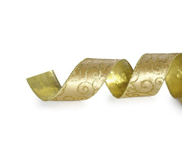 Fita Tecido Arabescos Glitter Ouro 3,8cm - 01 unidade 10m- Cromus Natal - Rizzo Embalagens