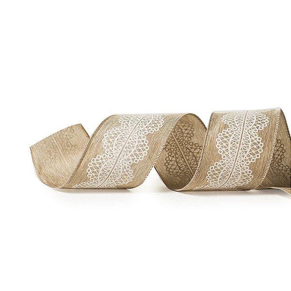 Fita Tecido Nude Renda Branca 6,3cm - 01 unidade 10m- Cromus Natal - Rizzo Embalagens