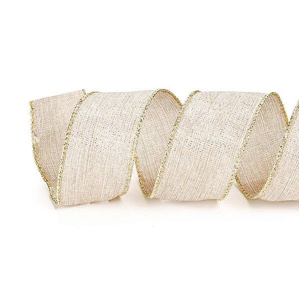 Fita Tecido Nude com Borda Dourada 6,3cm - 01 unidade 10m- Cromus Natal - Rizzo Embalagens