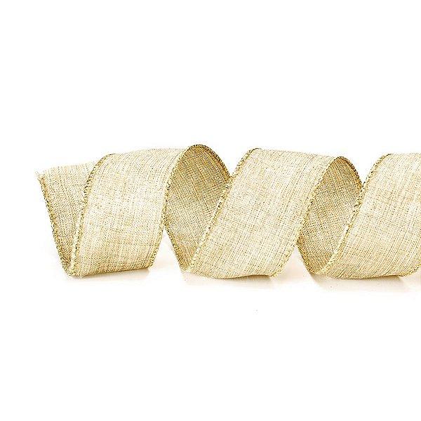 Fita Tecido Nude Riscado com Borda Dourada 3,8cm - 01 unidade 10m- Cromus Natal - Rizzo Embalagens