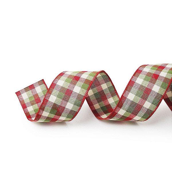 Fita Tecido Xadrez Vermelho e Verde 6,3cm - 01 unidade 10m- Cromus Natal - Rizzo Embalagens