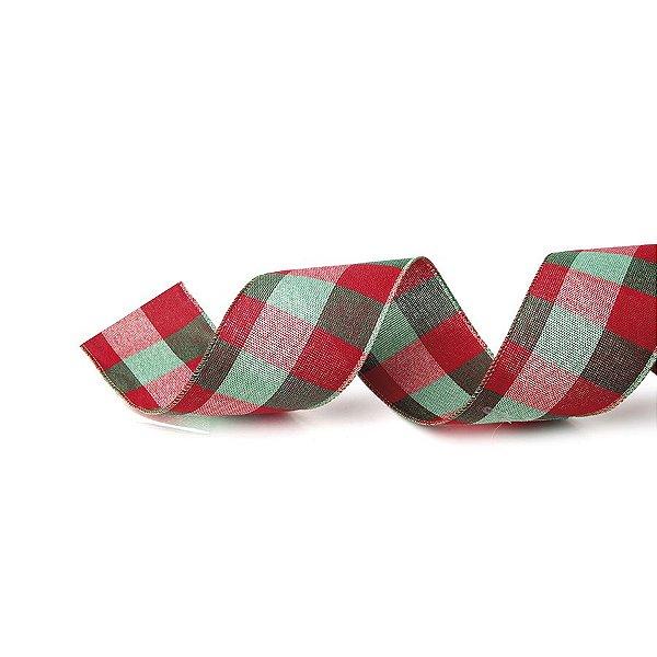 Fita Tecido Xadrez Largo Vermelho e Verde 3,8cm - 01 unidade 10m- Cromus Natal - Rizzo Embalagens