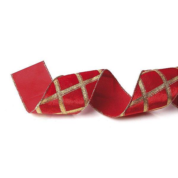 Fita Tecido Vermelho com Losangos Dourados 6,3cm - 01 unidade 10m- Cromus Natal - Rizzo Embalagens