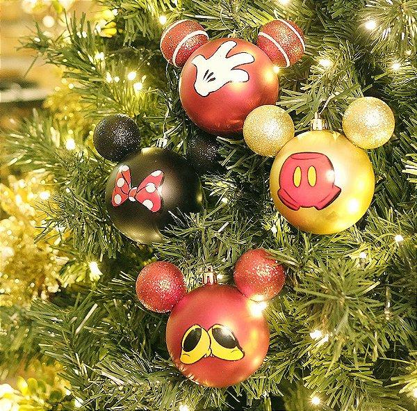 Kit Bolas Acessórios Mickey e Minnie Vermelho e Preto e Ouro  8cm - 04 unidades Natal Disney - Cromus - Rizzo Embalagens