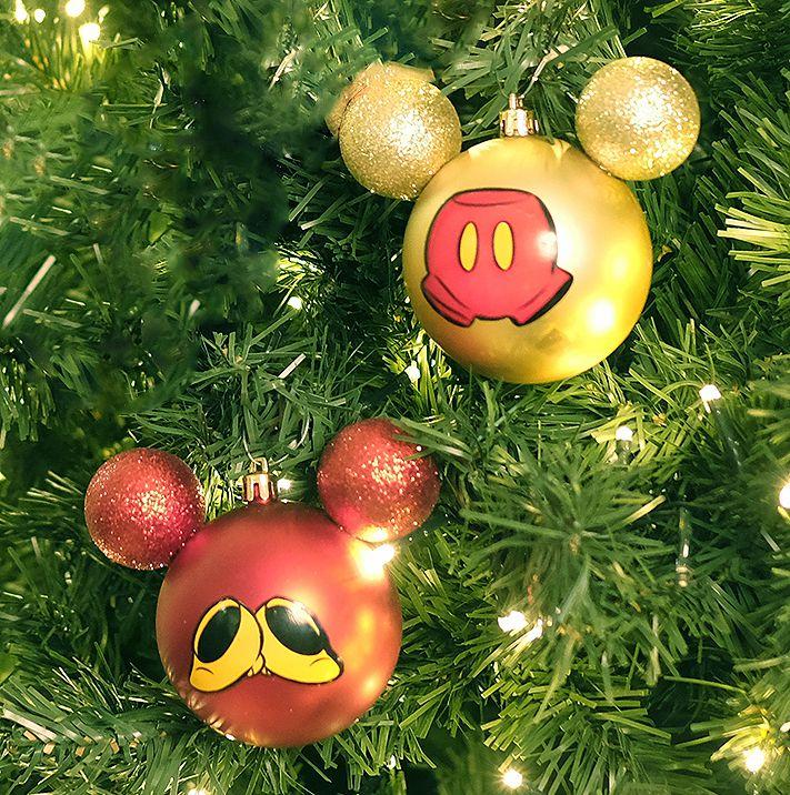 Kit Bolas Acessórios Mickey e Minnie Vermelho e Ouro  10cm - 02 unidades Natal Disney - Cromus - Rizzo Embalagens