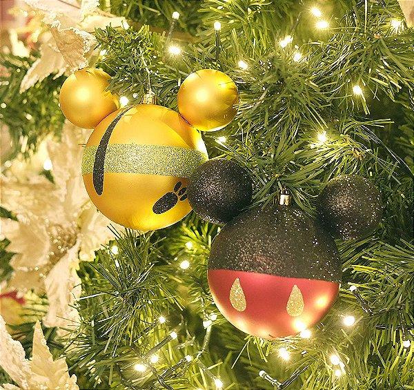 Kit Bolas Mickey e Pluto 10cm - 04 unidades Natal Disney - Cromus - Rizzo Embalagens