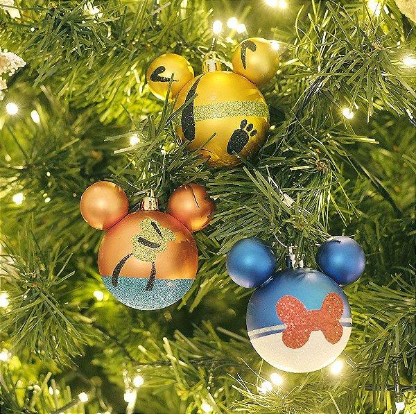 Kit Bolas Pluto Pateta e Pato Donald 6cm - 06 unidades Natal Disney - Cromus - Rizzo Embalagens