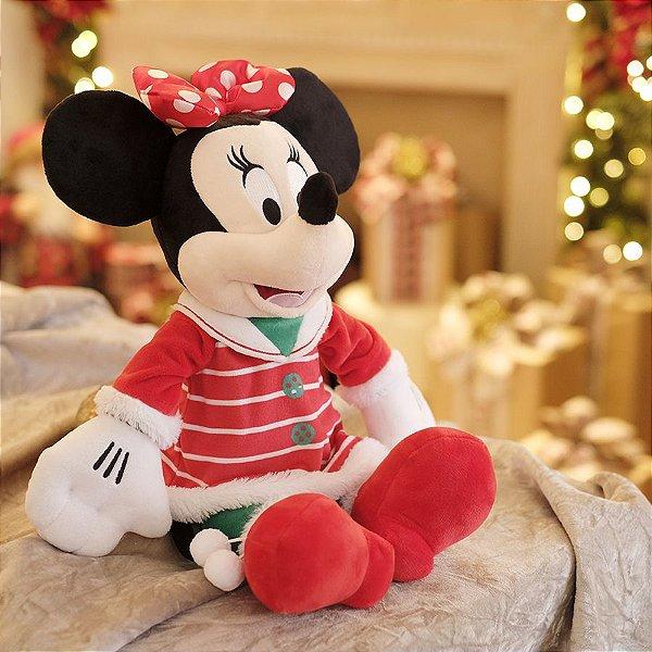 Minnie de Pelúcia com Vestido Listrado 30cm - 01 unidade Natal Disney - Cromus - Rizzo Embalagens
