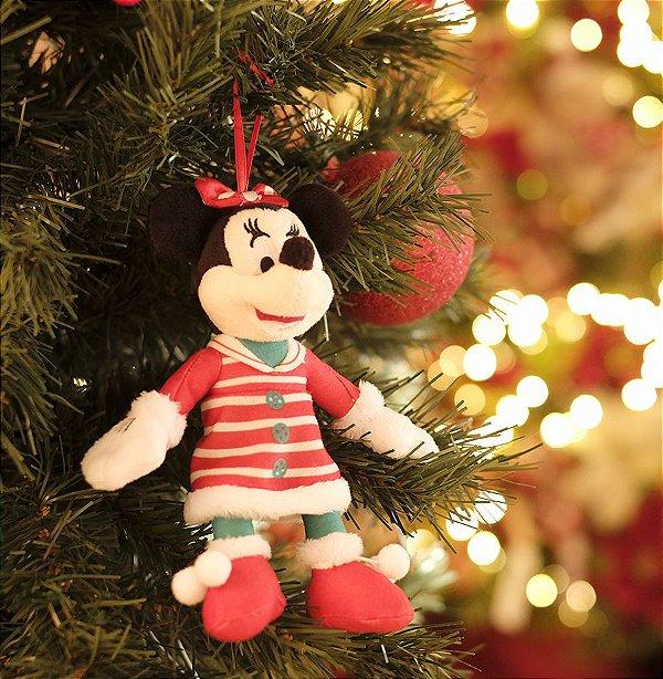 Minnie de Pelúcia com Vestido Listrado 15cm - 01 unidade Natal Disney - Cromus - Rizzo Embalagens