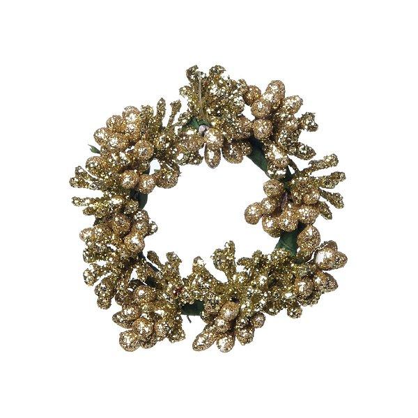 Mini Guirlanda Ouro Glitter 8cm - 01 unidade - Cromus Natal - Rizzo Embalagens
