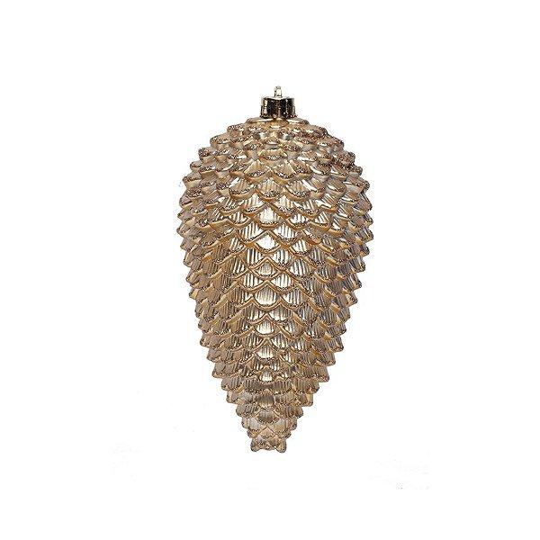 Enfeite para Pendurar Pinha Ouro 15cm - 01 unidade - Cromus Natal - Rizzo Embalagens