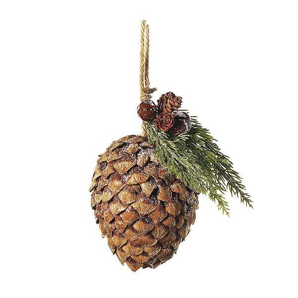 Enfeite para Pendurar Pinha Rústica 20cm - 01 unidade - Cromus Natal - Rizzo Embalagens