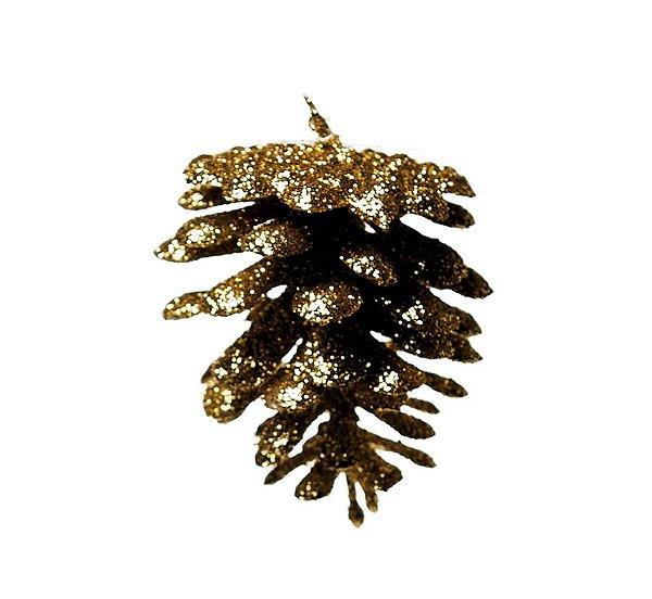 Enfeite para Pendurar Pinha Ouro Glitter 5cm - 01 unidade - Cromus Natal - Rizzo Embalagens