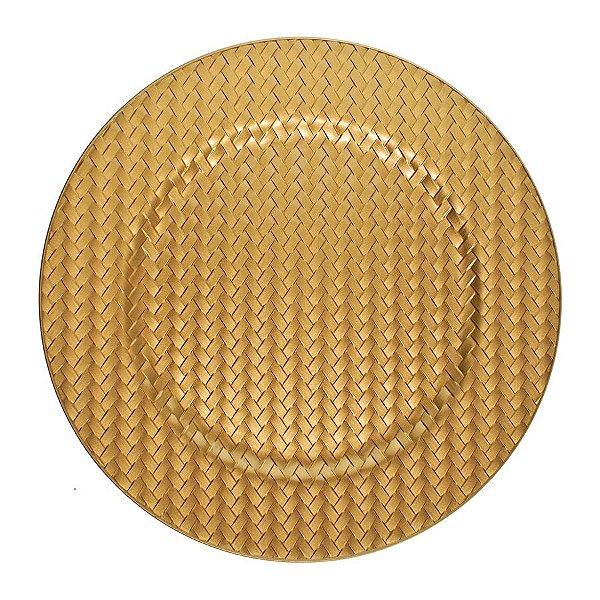 Sousplat Ouro Trançado 33cm - 01 unidade - Cromus Natal - Rizzo Embalagens