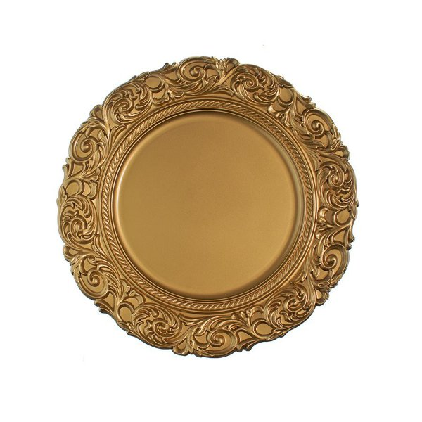 Sousplat Ouro Trabalhado 33cm - 01 unidade - Cromus Natal - Rizzo Embalagens