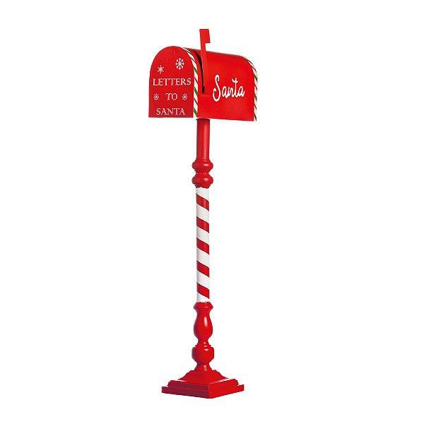 Caixa de Correio para Jardim Alta com Aste Listrada Vermelha 1m - 01 unidade - Cromus Natal - Rizzo Embalagens