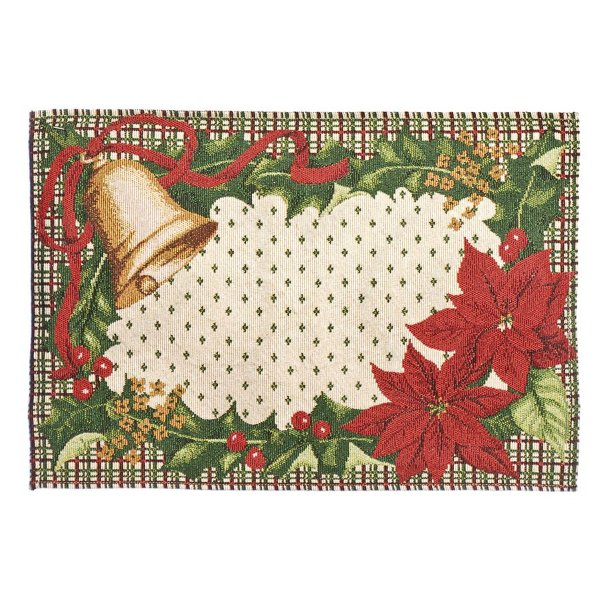 Jogo Americano Sino e Flores Vermelho e Verde 50cm - 01 unidade - Cromus Natal - Rizzo Embalagens