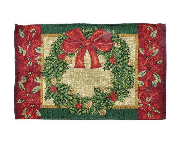 Jogo Americano Guirlanda Vermelho e Verde 50cm - 01 unidade - Cromus Natal - Rizzo Embalagens