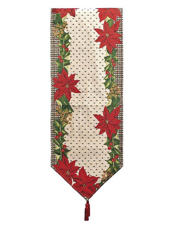 Caminho de Mesa com Flores 180cm - 01 unidade - Cromus Natal - Rizzo Embalagens