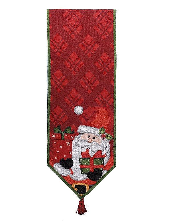 Caminho de Mesa Noel e Presente Vermelho 180cm - 01 unidade - Cromus Natal - Rizzo Embalagens