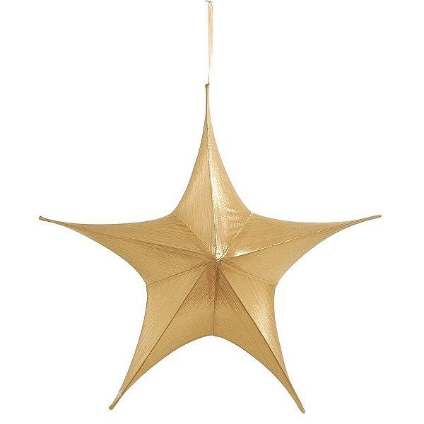 Estrela Aérea Decorativa Ouro 90cm - 01 unidade - Cromus Natal - Rizzo Embalagens