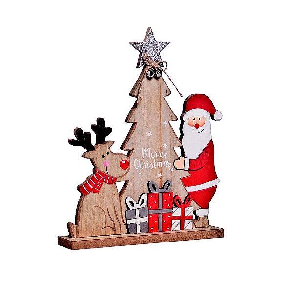 Enfeite de Madeira Pinheiro Árvore e Papai Noel 30cm - 01 unidade - Cromus Natal - Rizzo Embalagens