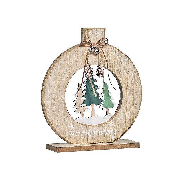 Enfeite de Madeira Bola com 3 Pinheiros 25cm - 01 unidade - Cromus Natal - Rizzo Embalagens