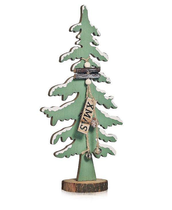 Enfeite de Madeira Pinheiro Verde 30cm - 01 unidade - Cromus Natal - Rizzo Embalagens
