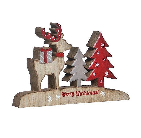Enfeite de Madeira Rena com Pinheiro Merry Christmas 20cm - 01 unidade - Cromus Natal - Rizzo Embalagens