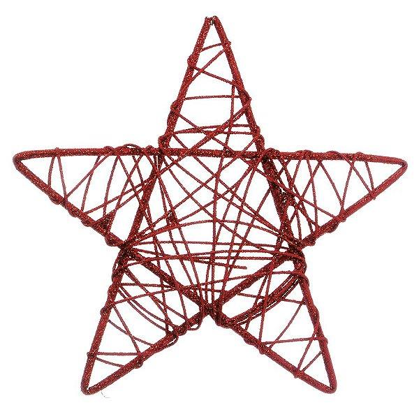 Estrela Rattan Vermelho 25cm - 01 unidade - Cromus Natal - Rizzo Embalagens