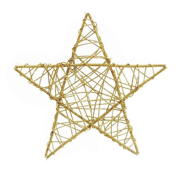 Estrela Rattan Ouro 30cm - 01 unidade - Cromus Natal - Rizzo Embalagens