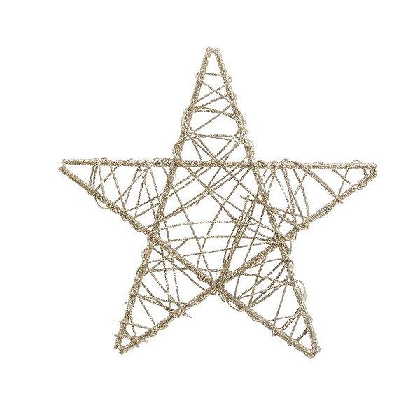Estrela Rattan Nude 25cm - 01 unidade - Cromus Natal - Rizzo Embalagens