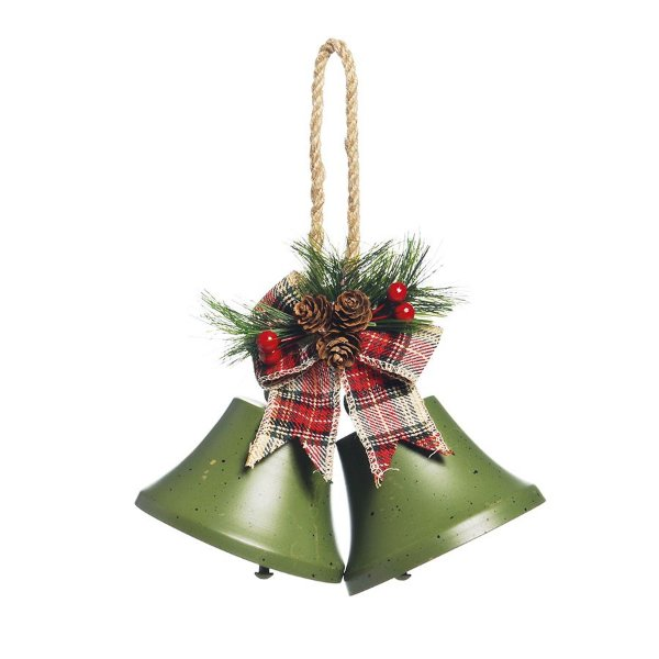 Sino Duplo para Pendurar Verde com Folhas e Cerejas 10cm - 01 unidade - Cromus Natal - Rizzo Embalagens