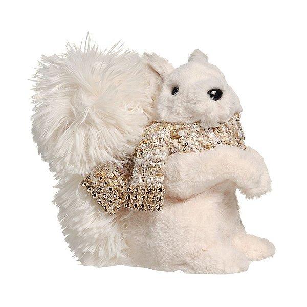 Esquilo de Pelúcia em Pé com Cachecol e Avelã Branco 20cm - 01 unidade - Cromus Natal - Rizzo Embalagens