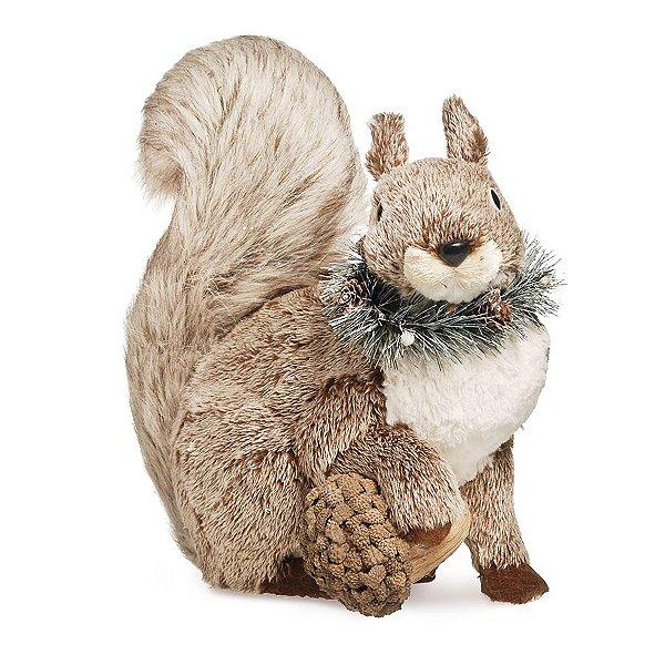 Esquilo Sentado Segurando Avelã Marrom 35cm - 01 unidade - Cromus Natal - Rizzo Embalagens