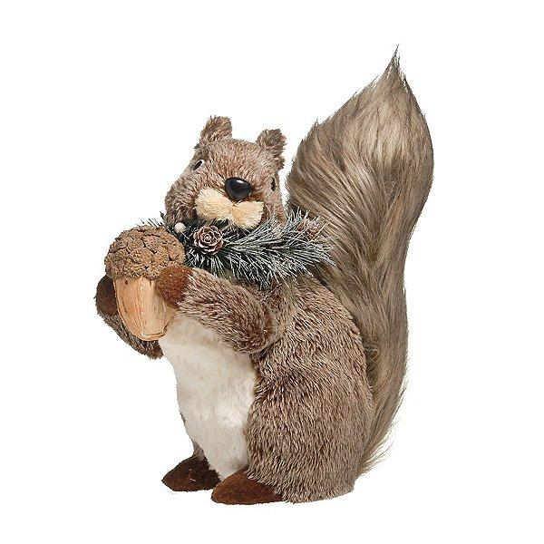 Esquilo em Pé Segurando Avelã Marrom 30cm - 01 unidade - Cromus Natal - Rizzo Embalagens