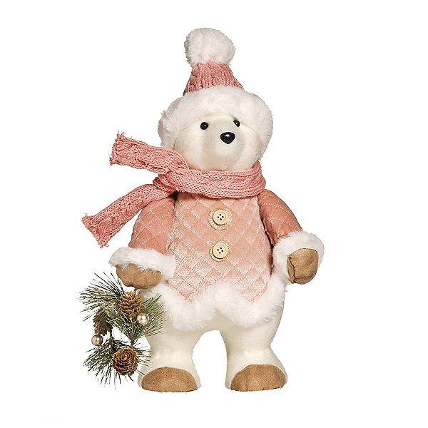 Urso de Pelúcia Rose Gold Segurando Guirlanda 35cm - 01 unidade - Cromus Natal - Rizzo Embalagens