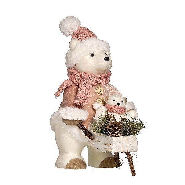 Urso de Pelúcia Rose Gold Segurando Carrinho 35cm - 01 unidade - Cromus Natal - Rizzo Embalagens