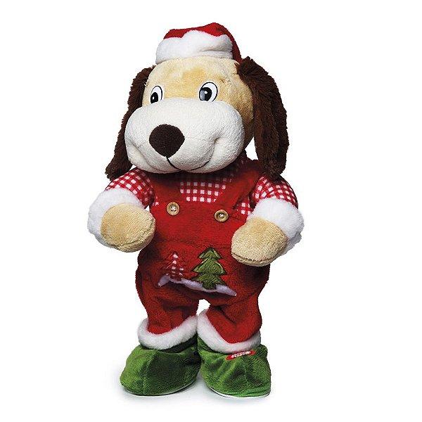 Cachorro com Som e Movimento com Osso 30cm - 01 unidade - Cromus Natal - Rizzo Embalagens