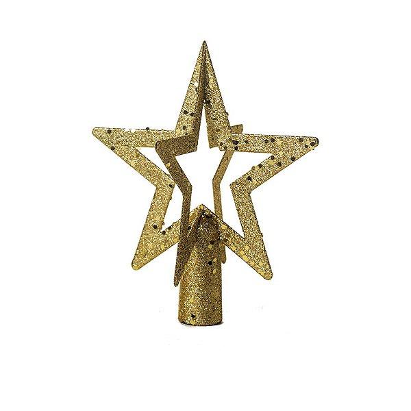 Ponteira de Árvore Estrela Ouro Vazada Glitter 20cm - 01 unidade - Cromus Natal - Rizzo Embalagens