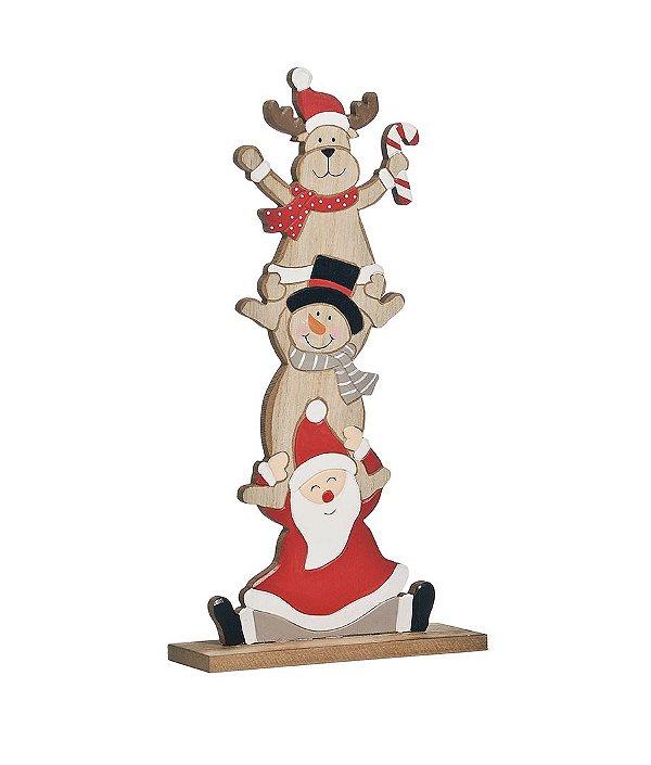 Enfeite de Madeira Rena Boneco de Neve e Papai Noel 35cm - 01 unidade - Cromus Natal - Rizzo Embalagens