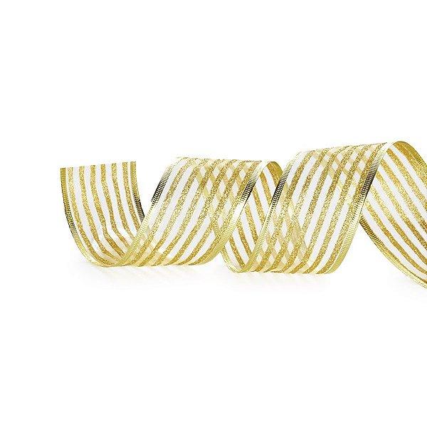 Fita Listras Glitter Ouro 6,3cm - 01 unidade 10m - Cromus Natal - Rizzo Embalagens