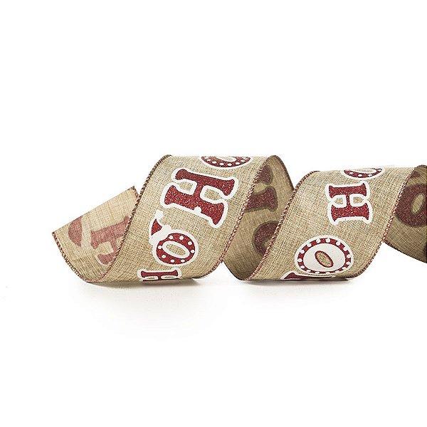 Fita Tecido HOHOHO Natural e Vermelha 6,3cm - 01 unidade 10m- Cromus Natal - Rizzo Embalagens