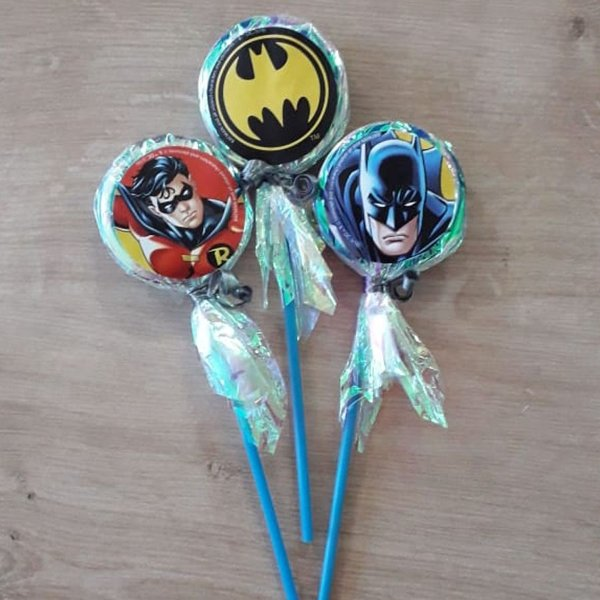 Pirulito Lembrancinha Festa Batman - 10 unidades - Rizzo Festas