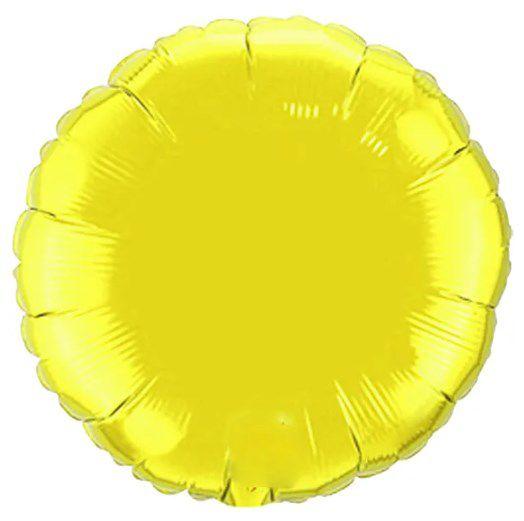 Balão Metalizado Redondo Liso 20'' 50cm - Amarelo - Flexmetal - Rizzo Embalagens e Festas