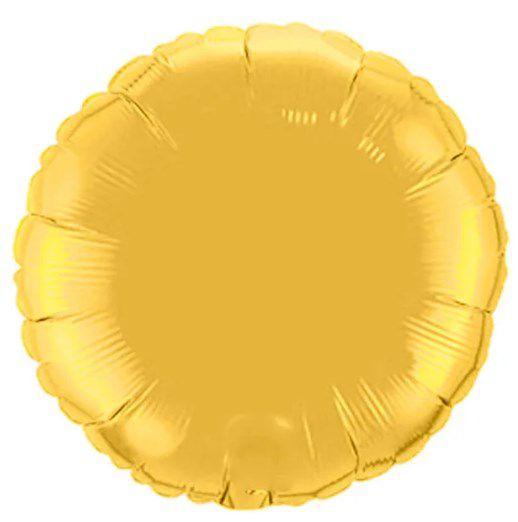 Balão Metalizado Redondo Liso 20'' 50cm - Ouro - Flexmetal - Rizzo Embalagens e Festas