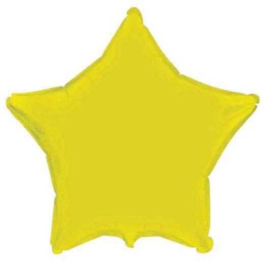 Balão Metalizado Estrela Liso 20'' 50cm - Amarelo - Flexmetal - Rizzo Embalagens e Festas